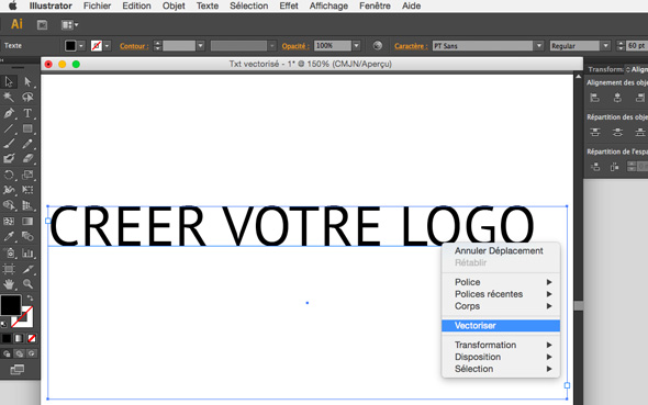 tuto vectoriser un texte sous Illustrator