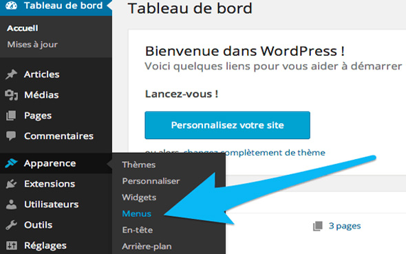 Menu wordpress - Source : Wp-marmite