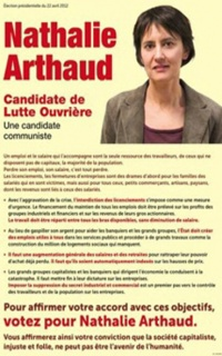 L' affiche présidentielle de Nathalie Arthaud de 2012
