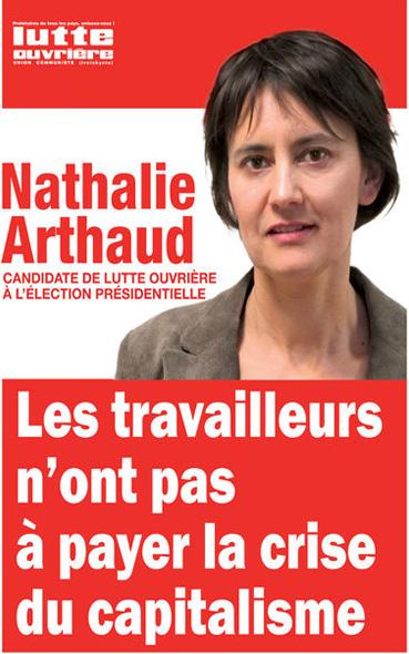 L' affiche présidentielle de Nathalie Arthaud de 2017