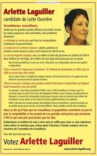 L' affiche présidentielle d'Arlette Laguiller