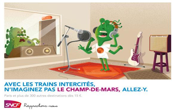 affiches de pub sncf trains intercités