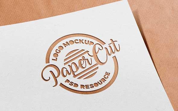 10 mockups de logos gratuits à télécharger - Logo découpé dans papier