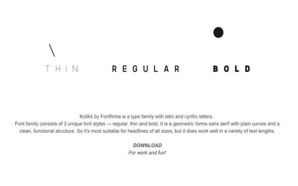 10 typographies gratuites à découvrir et à télécharger - Fonts Koliko créés par Alex Frukta