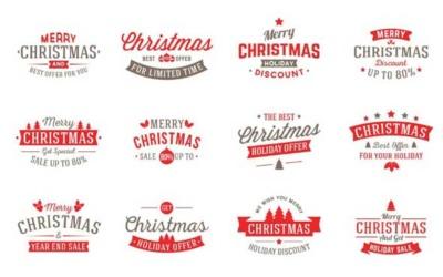 5 Typo et Bagdes pour vos supports personnalisés de Noel - By GraphicPear