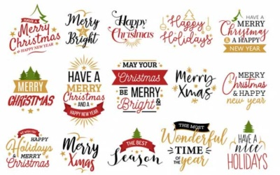 5 Typo et Bagdes pour vos supports personnalisés de Noel - By Lucia