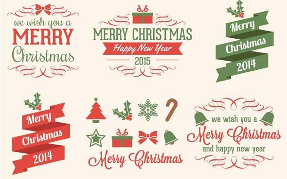 5 Typo et Bagdes pour vos supports personnalisés de Noel - By Vecteezy