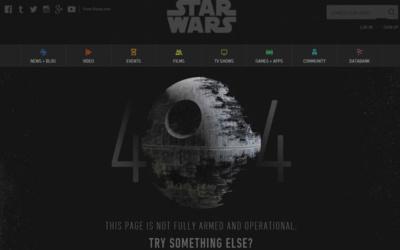 404 STAR WARS - 10 pages 404 à s'inspirer pour son site internet